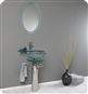 Fresca - Ovale - Glass Bathroom Vanity w/ Glass Shelf Countertop - FVN1019