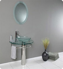 Fresca - Attrazione - Glass Bathroom Vanity w/ Frosted Edge Mirror - FVN1060