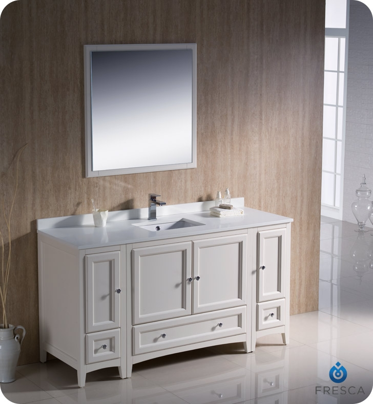 Fresca Oxford 60 Antique White Traditional Bathroom Vanity