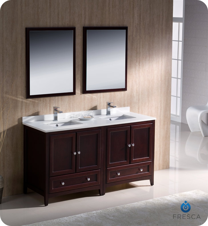 Fresca Oxford 60 Mahogany Traditional Double Sink Bathroom Vanity