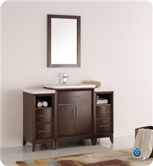 "Fresca Cambridge 48"" Antique Coffee Traditional Bathroom Vanity with Mirror"