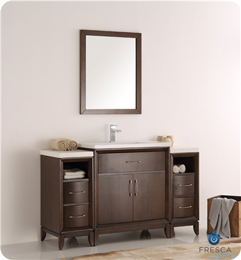 "Fresca Cambridge 54"" Antique Coffee Traditional Bathroom Vanity with Mirror"