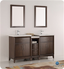 "Fresca Cambridge 60"" Antique Coffee Double Sink Traditional Bathroom Vanity with Medicine Cabinet"