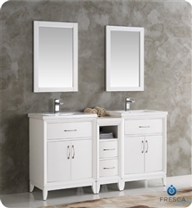"Fresca Cambridge 60"" White Double Sink Traditional Bathroom Vanity with Mirrors"