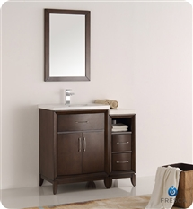 "Fresca Cambridge 36"" Antique Coffee Traditional Bathroom Vanity with Mirror"