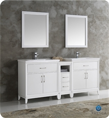"Fresca Cambridge 72"" White Double Sink Traditional Bathroom Vanity with Mirrors"