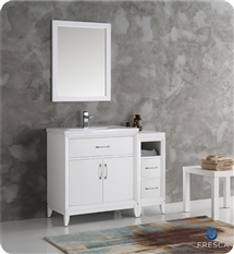 "Fresca Cambridge 42"" White Traditional Bathroom Vanity with Mirror"