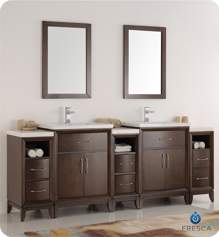 Fresca Cambridge 84 Antique Coffee Double Sink Traditional Bathroom Vanity With Mirrors