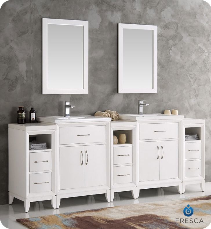 Fresca Cambridge 84 White Double Sink Traditional Bathroom Vanity With Mirrors