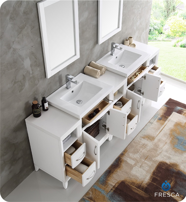 The Fresca Cambridge Transitional Bathroom Vanity With Mirrors Features Two Double Integrated Ceramic Sinks