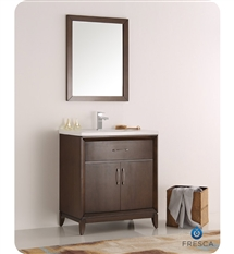 "Fresca Cambridge 30"" Antique Coffee Traditional Bathroom Vanity with Mirror"