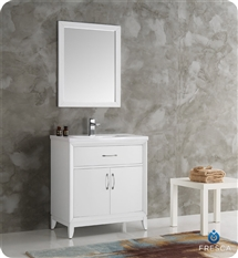 "Fresca Cambridge 30"" White Traditional Bathroom Vanity with Mirror"