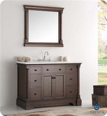 "Fresca Kingston 49"" Antique Coffee Traditional Bathroom Vanity with Mirror"