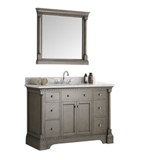 "Fresca Kingston 49"" Antique Silver Traditional Bathroom Vanity with Mirror"