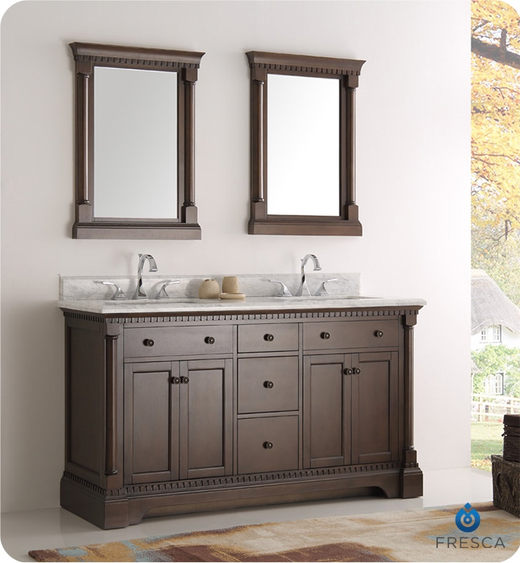 Fresca Kingston 61 Antique Coffee Double Sink Traditional Bathroom Vanity With Mirrors