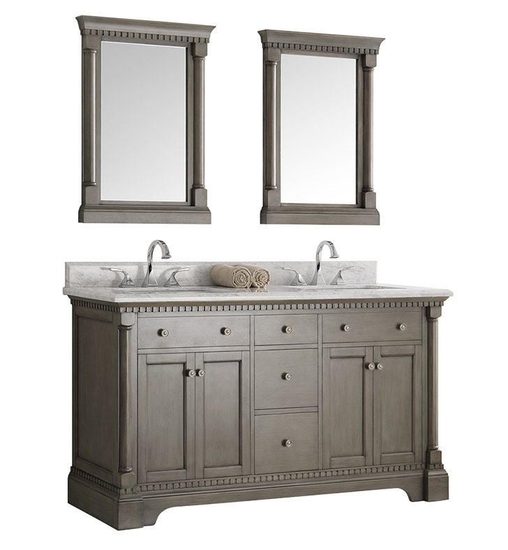 Fresca Kingston 61 Antique Silver Double Sink Traditional Bathroom Vanity With Mirrors