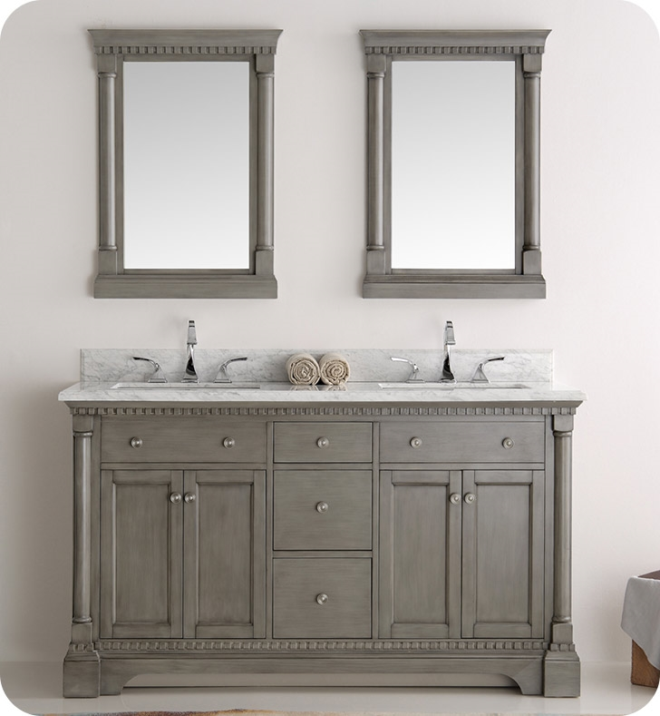 The Fresca Kingston Antique Silver Double Sink Traditional Bathroom Vanity  ...