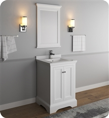 "Fresca Windsor 24"" Matte White Traditional Bathroom Vanity with Mirror"