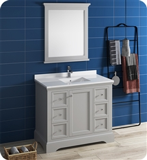 "Fresca Windsor 40"" Gray Traditional Bathroom Vanity with Mirror"