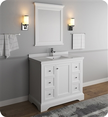 "Fresca Windsor 40"" Matte White Traditional Bathroom Vanity with Mirror"