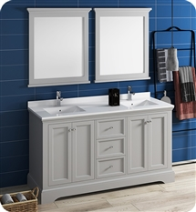 "Fresca Windsor 60"" Gray Traditional Bathroom Vanity with Mirror"