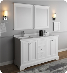 "Fresca Windsor 60"" Matte White Traditional Bathroom Vanity with Mirror"
