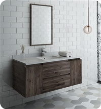 "Fresca Formosa 48"" Wall Hung Modern Bathroom Vanity with Mirror"