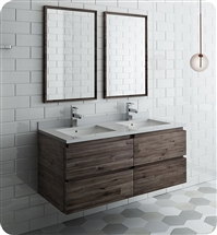 "Fresca Formosa 48"" Wall Hung Double Sink Modern Bathroom Vanity with Mirrors"