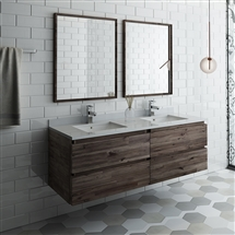 "Fresca Formosa 60"" Wall Hung Double Sink Modern Bathroom Vanity with Mirrors"