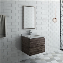 "Fresca Formosa 24"" Wall Hung Modern Bathroom Vanity with Mirror"