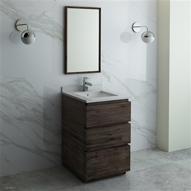 "Fresca Formosa 24"" Floor Standing Modern Bathroom Vanity with Mirror"