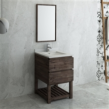 "Fresca Formosa 24"" Floor Standing Modern Bathroom Vanity with Open Bottom & Mirror"