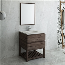 "Fresca Formosa 30"" Floor Standing Modern Bathroom Vanity with Open Bottom & Mirror"