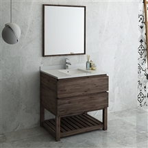 "Fresca Formosa 36"" Floor Standing Modern Bathroom Vanity with Open Bottom & Mirror"