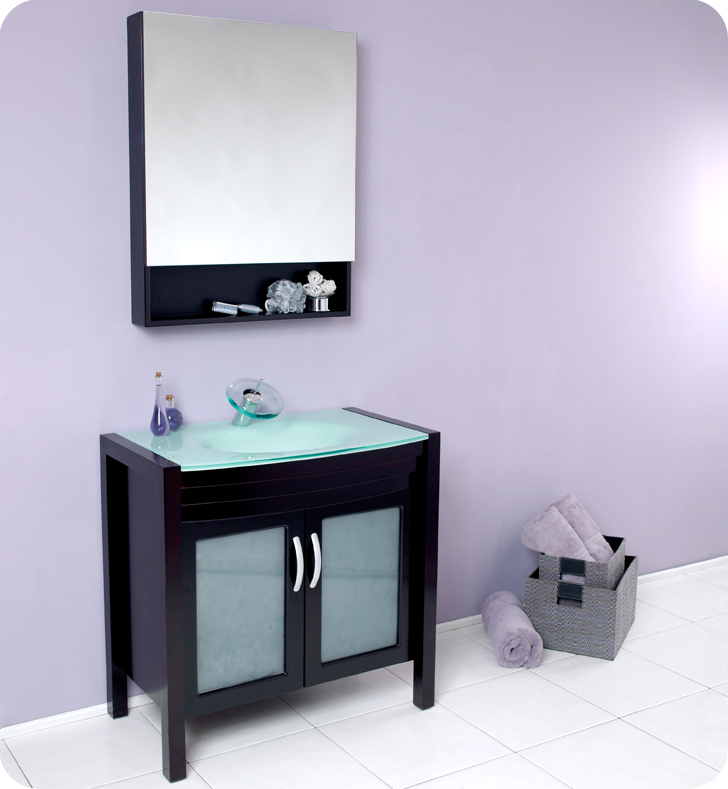 Fresca - Infinito - Bathroom Vanity w/ Waterfall Faucet and Glass  Countertop and Sink -