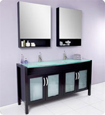 Fresca - Infinito - Double Sink Bathroom Vanity w/ Tempered Glass Countertop and Sink - FVN3307ES