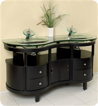 Fresca - Unico - Double Sink Bathroom Vanity w/ Tempered Glass Counter and Sink - FVN3331ES