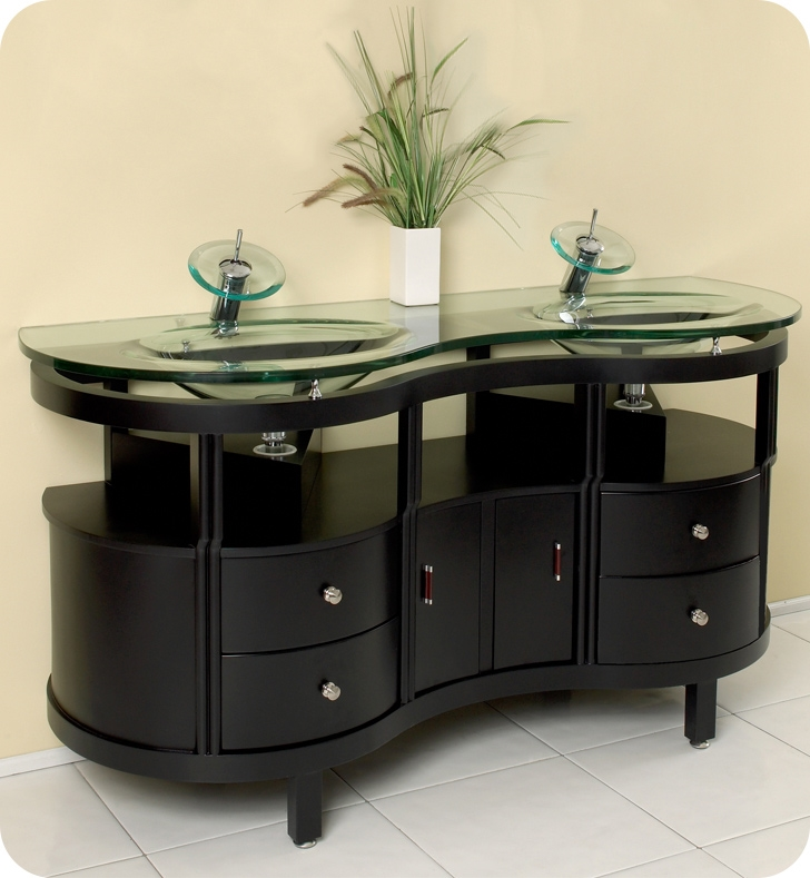 fresca unico double sink bathroom vanity w tempered glass counter and sink - Mirrored Bathroom Vanity