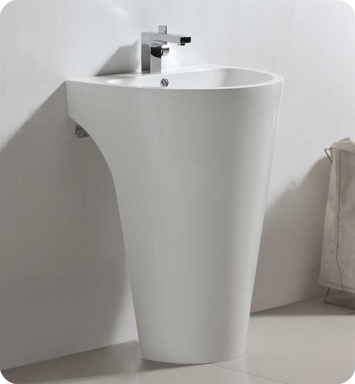 This All White Pedestal Vanity ...