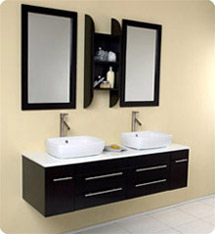 Fresca - Bellezza - (Espresso) Bathroom Vanity w/ Solid Oak Wood and White Ceramic Sinks - FVN6119ES