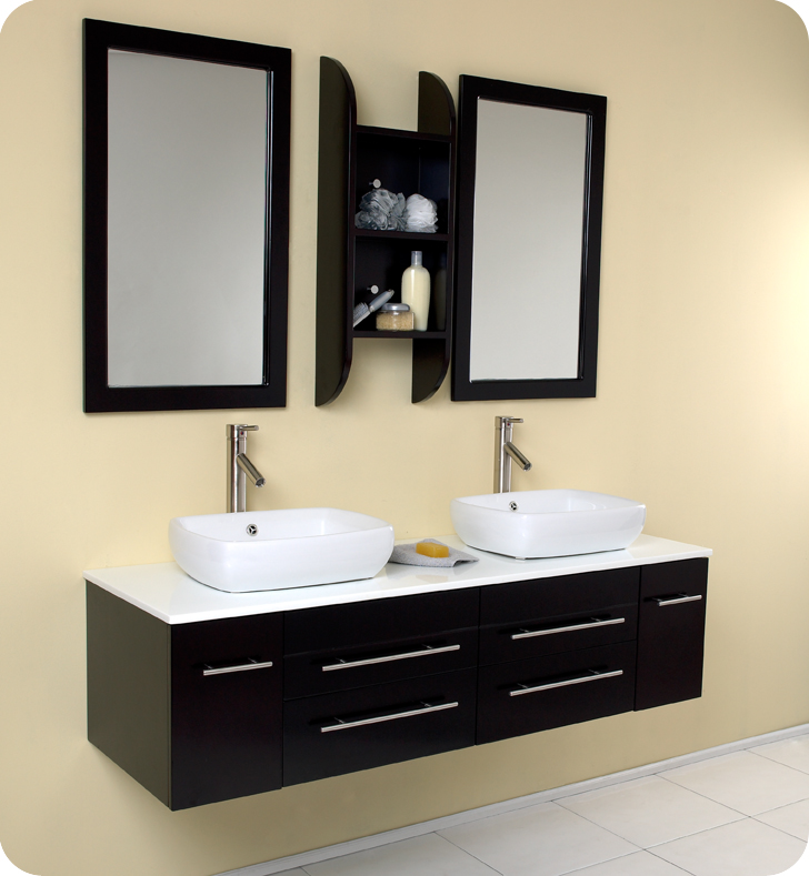 p double sinks wavy of picture teak w fresca vanity largo modern bathroom