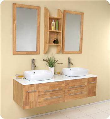Fresca Bellezza Natural Wood Modern Double Vessel Sink Bathroom Vanity