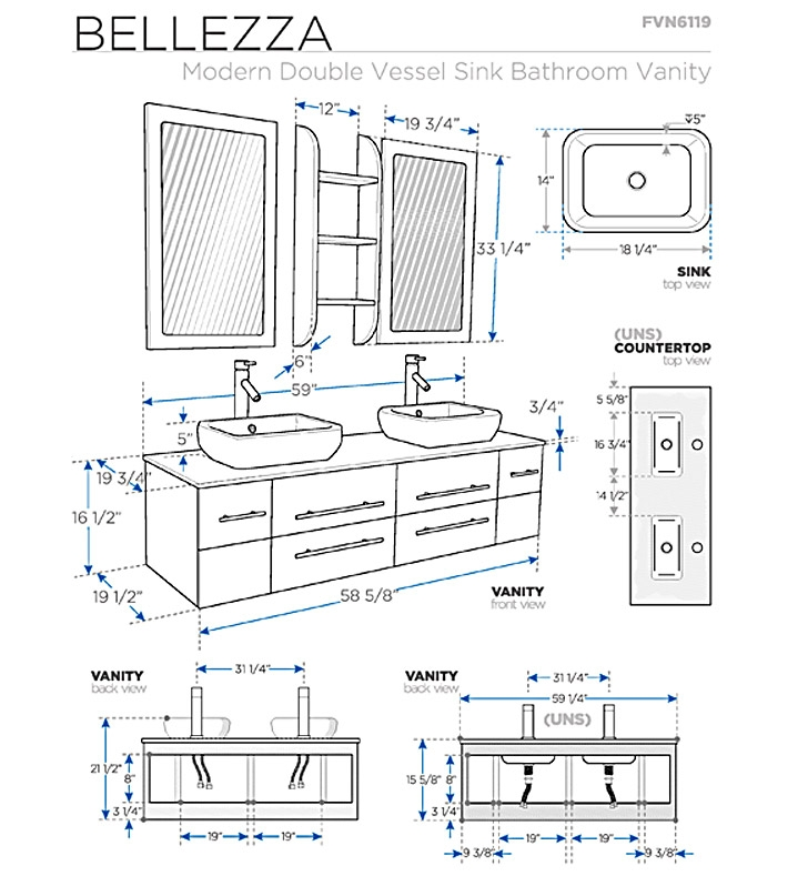 Bathroom Vanities Buy Bathroom Vanity Furniture  : FVN6119UNS 11 from www.frescabath.com size 728 x 789 jpeg 210kB