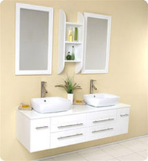 Fresca - Bellezza - (White) Bathroom Vanity w/ Solid Oak Wood and White Ceramic Sinks - FVN6119WH