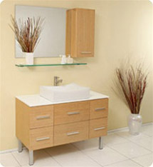 Fresca - Distante - (Natual Wood) Bathroom Vanity w/ Cultured Marble Countertop - FVN6123NW