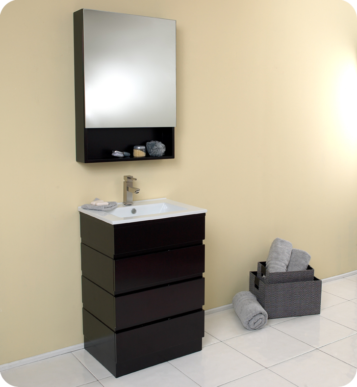 fresca amato bathroom vanity w solid oak wood and espresso finish fvn6124es - Bathroom Cabinets Kansas City