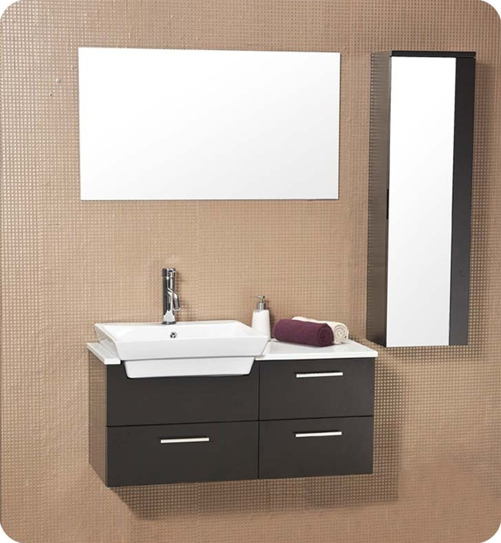fresca caro solid wood bathroom vanity w mirrored side cabinet fvn6163es