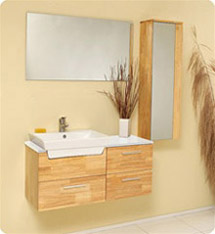 Fresca - Caro - Solid Oak Bathroom Vanity w/ Mirrored Side Cabinet - FVN6163NW