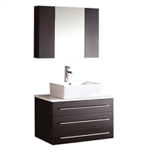 Fresca - Modello - (Espresso) Bathroom Vanity w/ White Ceramic Sink and Medicine Cabinet - FVN6183ES