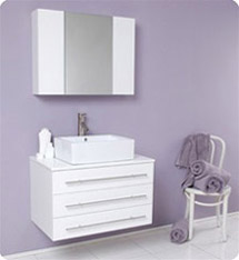 Fresca - Modello - (White) Bathroom Vanity w/ White Ceramic Sink and Medicine Cabinet - FVN6183WH